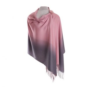 Luxurious Pink/Grey Pashmina with Pin