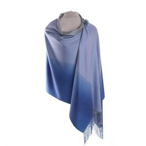 Luxurious Blue Two Tone Pashmina with Pin | Luxury Scarves