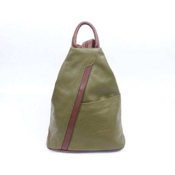 Italian Leather Olive/Tan Backpack - Large (BAG86)