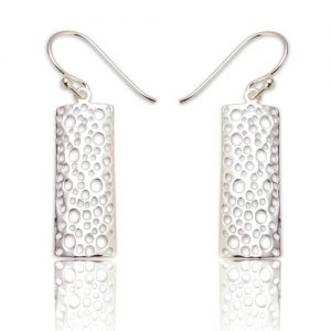 Oblong honeycomb earrings | Silver Jewellery