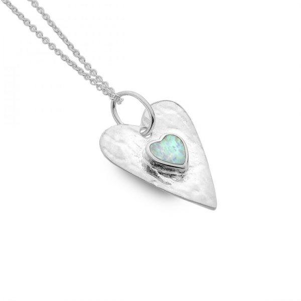 Silver opal heart pendant | Silver Jewellery
