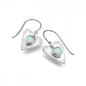 Silver opal heart earrings