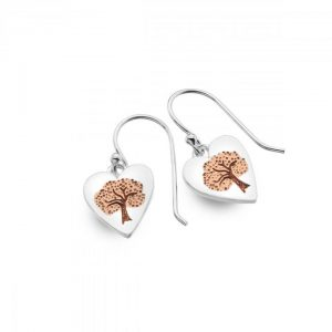 Silver-rose gold tree earrings