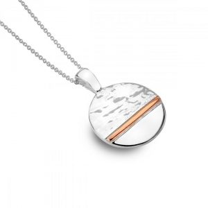 Silver-rose gold disc necklace | Silver Jewellery