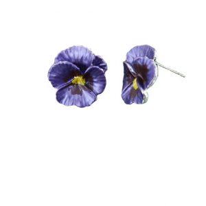 Purple Pansy Stud Earrings | Silver Jewellery