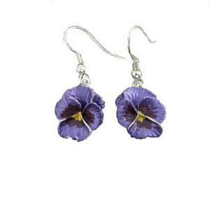 purple pansy earrings | Silver Jewellery