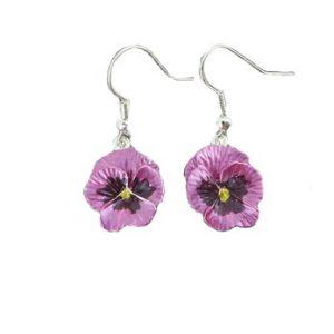 Pink pansy earrings | Silver Jewellery
