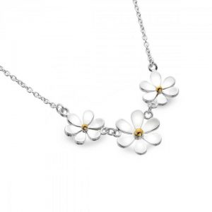 3 daisy necklace silver gold   Silver Jewellery