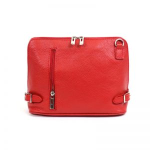 Luxurious Italian leather crossbody bag |Red zip front bag | Italian Leather Bags
