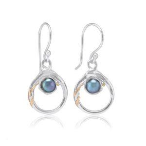 Silver black pearl earrings | Silver Jewellery