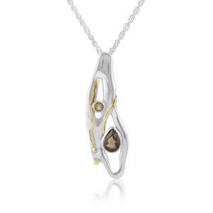 Silver pendant smokey quartz citrine | Silver Jewellery