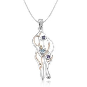 Silver organic natural gemstone pendant | Silver Jewellery