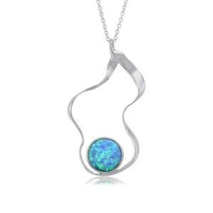 Silver Ribbon Opalite Pendant | Silver Jewellery