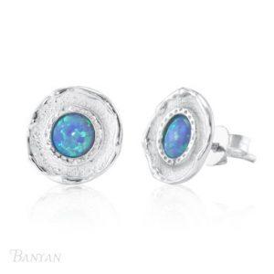 Silver Opalite Stud Earrings | Silver Jewellery
