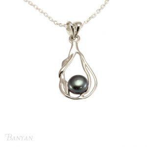 Silver black freshwater pearl necklace | Silver Jewellery