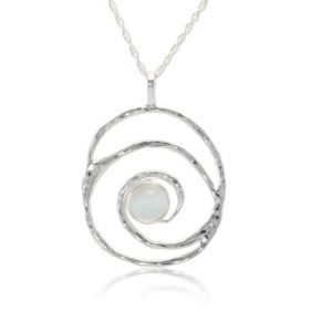 Silver spiral moonstone pendant | Silver Jewellery
