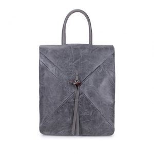 Grey faux leather backpack