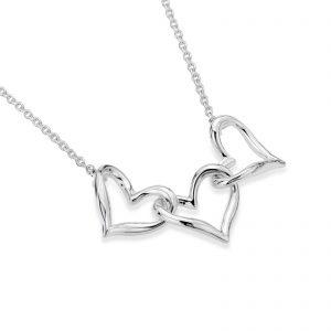 Interlocking heart necklace   Silver Jewellery