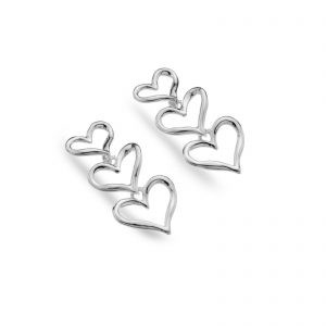 Beautiful sterling silver drop earrings | Triple heart silver earrings | Silver Jewellery