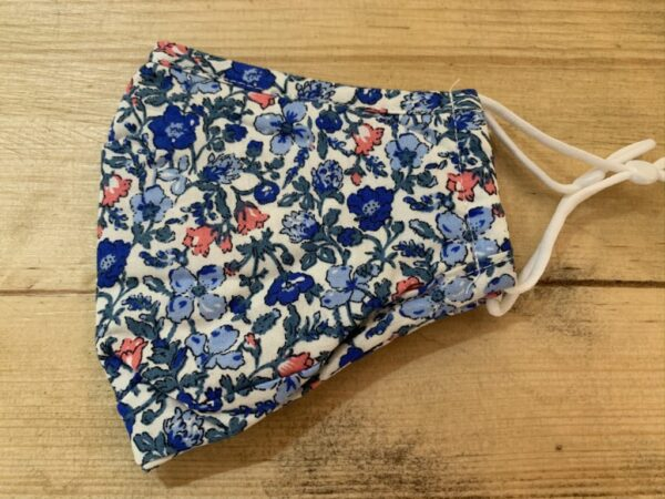 Blue flowery face mask