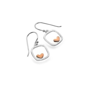 Silver earrings rose gold heart