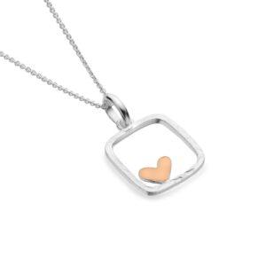 Silver pendant rose gold heart