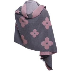 Grey pink flower wrap   Beautiful Pashmina   Luxury Scarves   Luxury Scarf