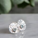 Hammered stud earrings topaz