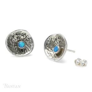 Hammered opal earrings