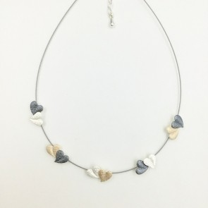3 tone heart n/l on wire