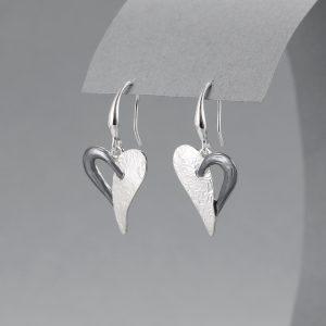 2 tone heart earrings