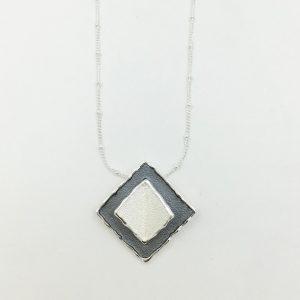 2 tone square necklace
