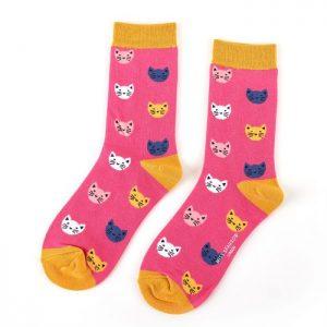 Bamboo socks kitten face