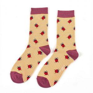 Bamboo socks ladybird mustard