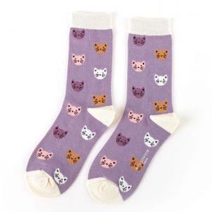 Bamboo socks kitten faces lavender