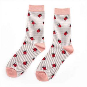 Bamboo socks ladybird grey