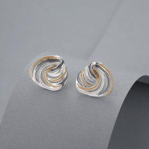 Twisted shield earrings 3 tone