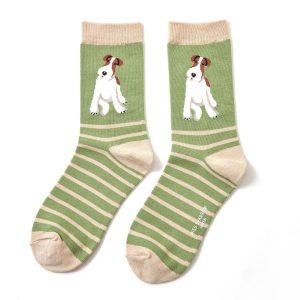 Bamboo socks fox terrier sage