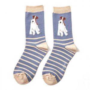 Bamboo socks Fox Terrier blue