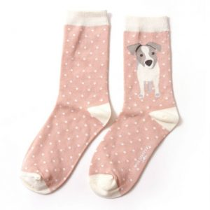 Bamboo socks Jack Russell pup pink