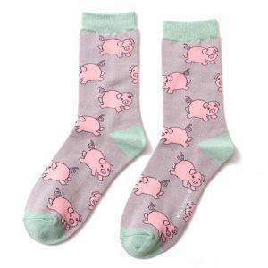 Bamboo socks piglet grey
